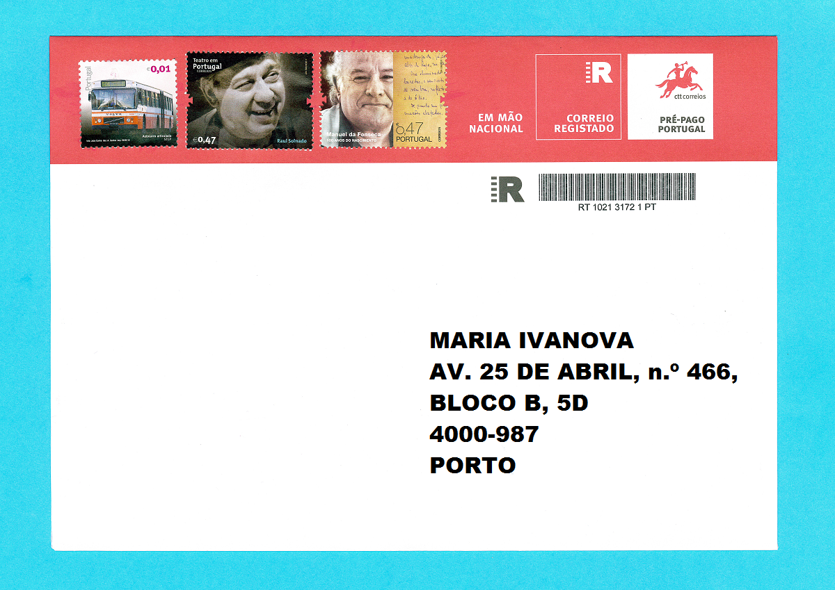 Конверт Correio Registado